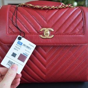 CHANEL Brand New Calfskin Backpack Red